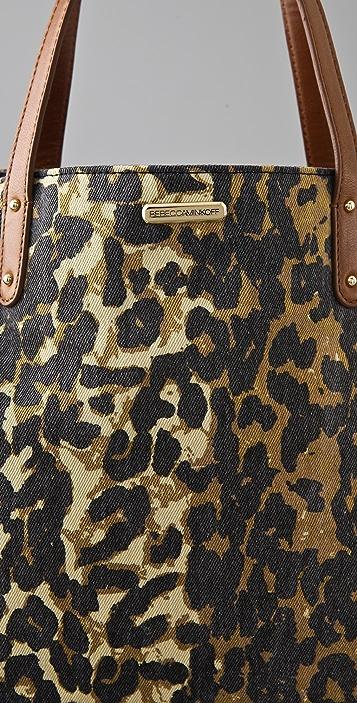 Rebecca Minkoff Washed Denim Cheetah Cherish Tote