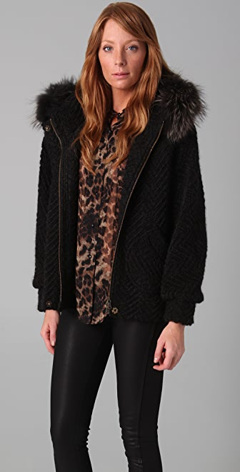 Rebecca Minkoff Dree Bubble Jacket with Fur Hood