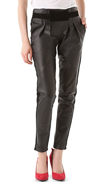 Rebecca Minkoff Leather Combo Pleated Pants
