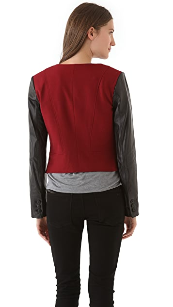 Rebecca Minkoff Delancey Leather Sleeve Jacket