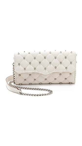 Rebecca Minkoff Diamond Quilt & Stud Wallet on a Chain