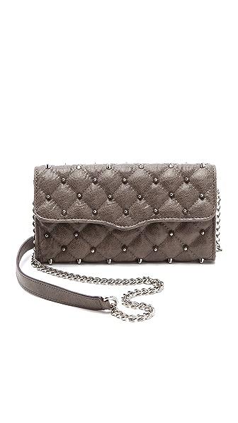 Rebecca Minkoff Diamond Quilt & Stud Wallet on a Chain
