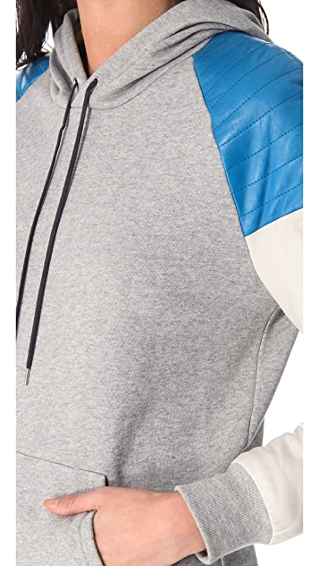 Rebecca Minkoff Leather Sleeve Sweatshirt