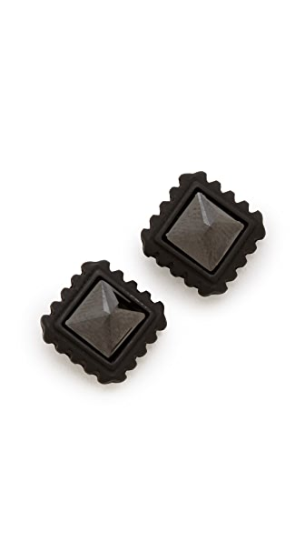 Rebecca Minkoff Jet Square Crystal Stud Earrings