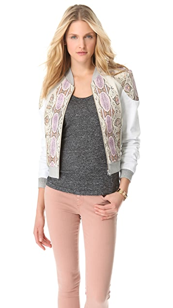 Rebecca Minkoff Python Print Leather 33 Jacket