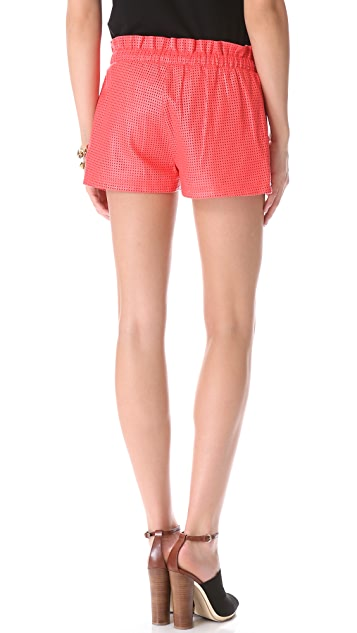 Rebecca Minkoff Perforated Leather Mika Shorts
