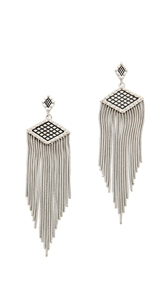 Rebecca Minkoff Crosshatch Fringe Earrings