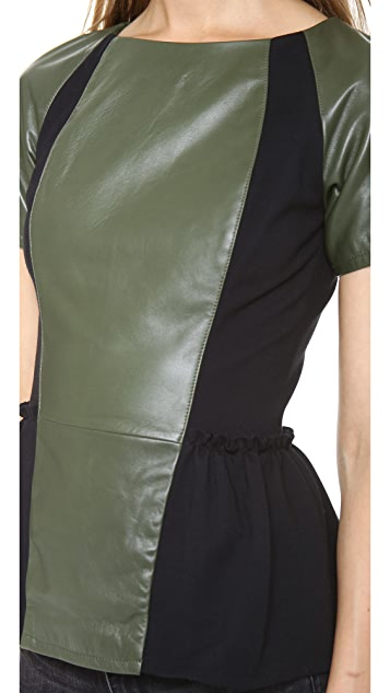 Rebecca Minkoff Lyra Leather Peplum Top