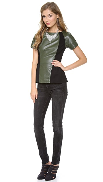 Rebecca Minkoff Lyra Leather Peplum Top