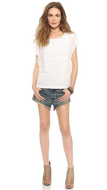 Rebecca Minkoff Sand Ruffle Sleeve Top