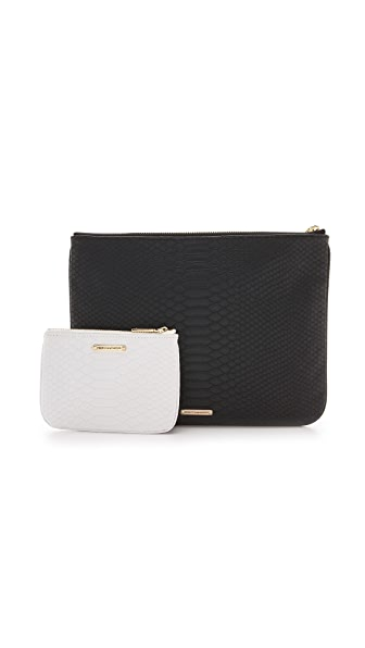 Rebecca Minkoff Python Embossed Pouch Set