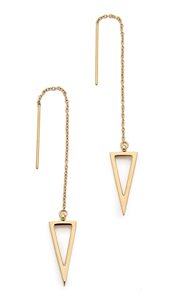 Rebecca Minkoff Long Triangle Frame Threader Earrings - Gold