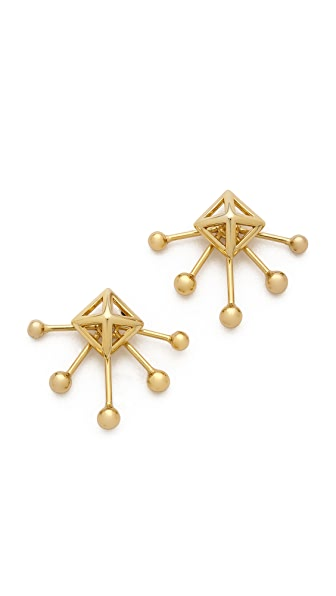 Rebecca Minkoff Pyramid Fan Stud Earrings - Gold