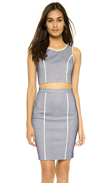 Rebecca Minkoff Zoey Crop Top - White/Brazil Blue