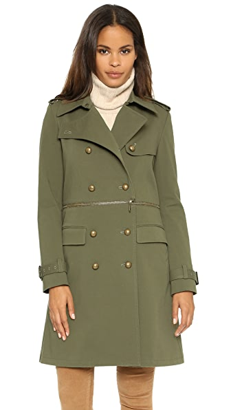 Rebecca Minkoff Melissa Zip Off Trench Coat - Olive