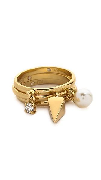 Rebecca Minkoff Imitation Pearl & Crystal Charm Ring Set