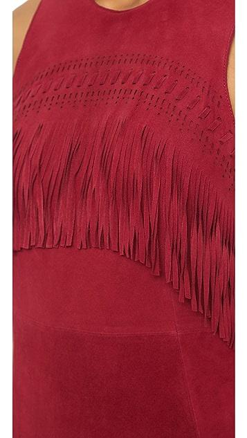 Rebecca Minkoff Sleeveless Fringe Suede Dress