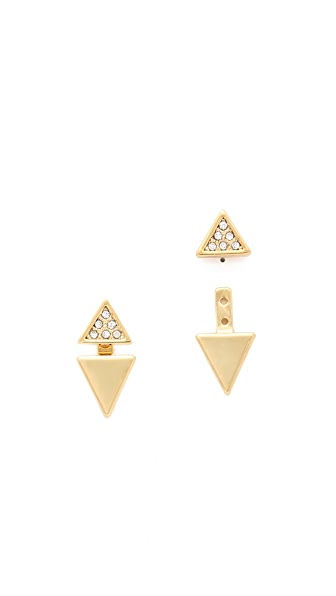 Rebecca Minkoff Double Triangle Front to Back Earrings - Gold/Clear