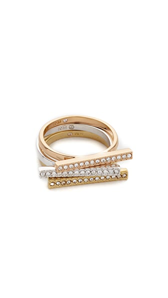 Rebecca Minkoff Tricolor Bar Stackable Rings