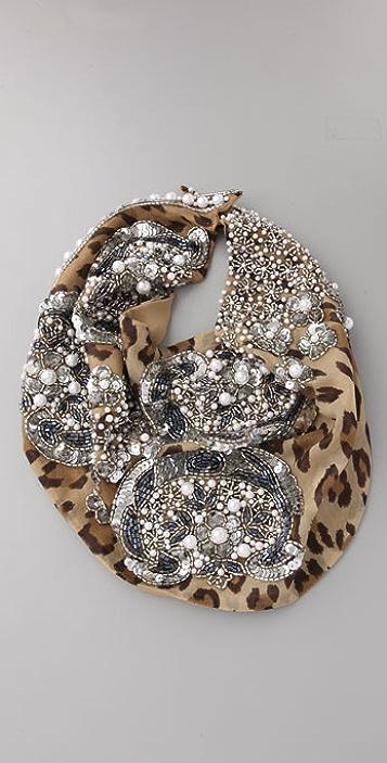 ROARKE new york Le Charlot Beaded Leopard Bib Necklace