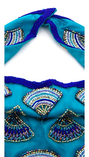 ROARKE new york Beaded Feather Bib Necklace