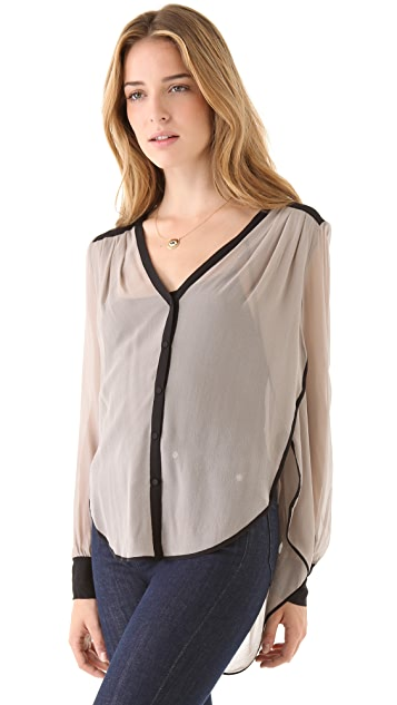 Robbi & Nikki Colorblock Piped Blouse