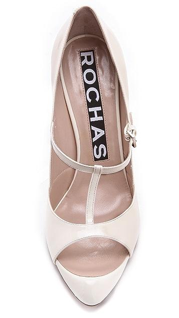 Rochas T Strap Patent Heels
