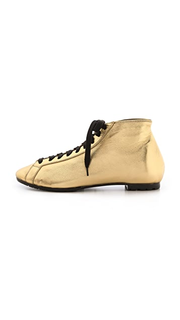 Rochas Gold Leather Sneakers