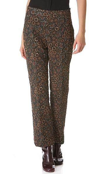 Rochas Floral Jacquard Pants