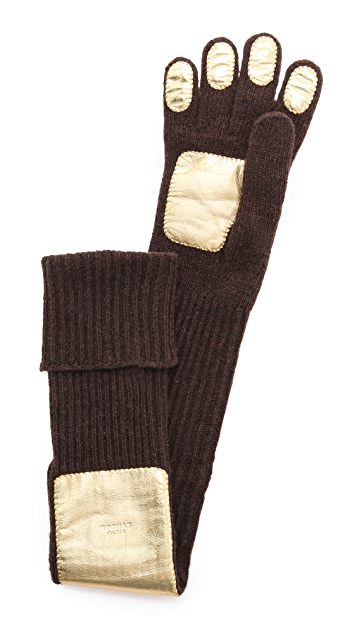 Rochas Wool & Leather Gloves