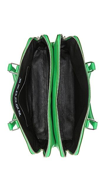 Rochas Leather Double Zip Handbag