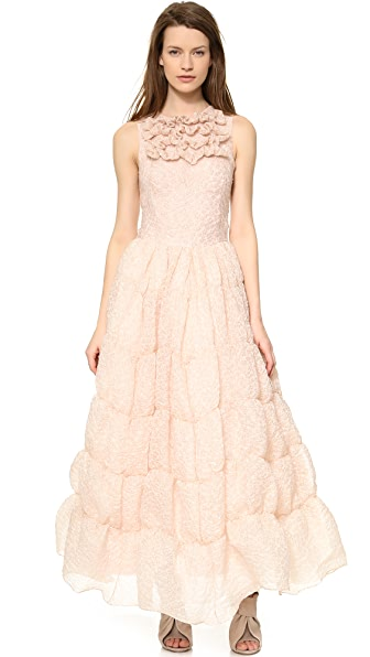 Rochas Ruffled Sleeveless Gown
