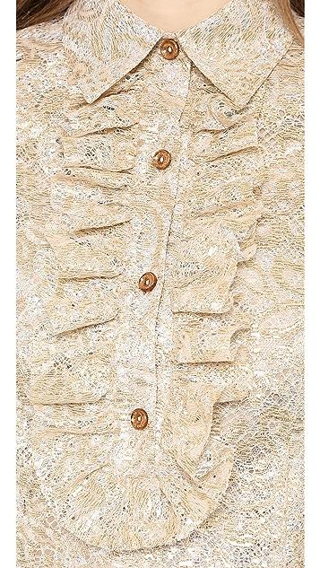 Rochas Layered Metallic Lace Blouse