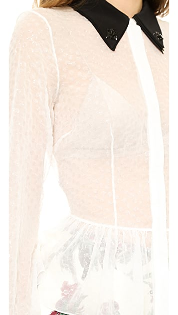 Rochas Flocked Blouse with Fly Detail