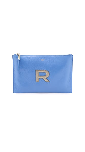 Rochas Leather R Clutch - Medium Blue
