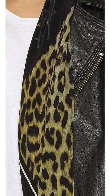 Rockins Classic Skinny Fringed Rose Leopard Silk Scarf