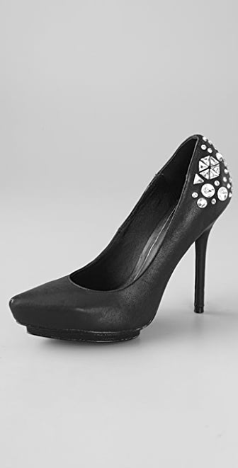 Rock & Republic Nikki Platform Pumps with Crystals