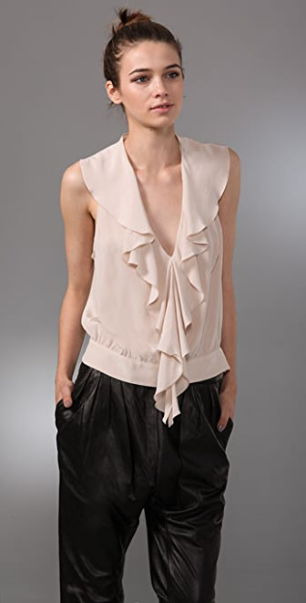 Rory Beca Theresa V Neck Top with Front Ruffle