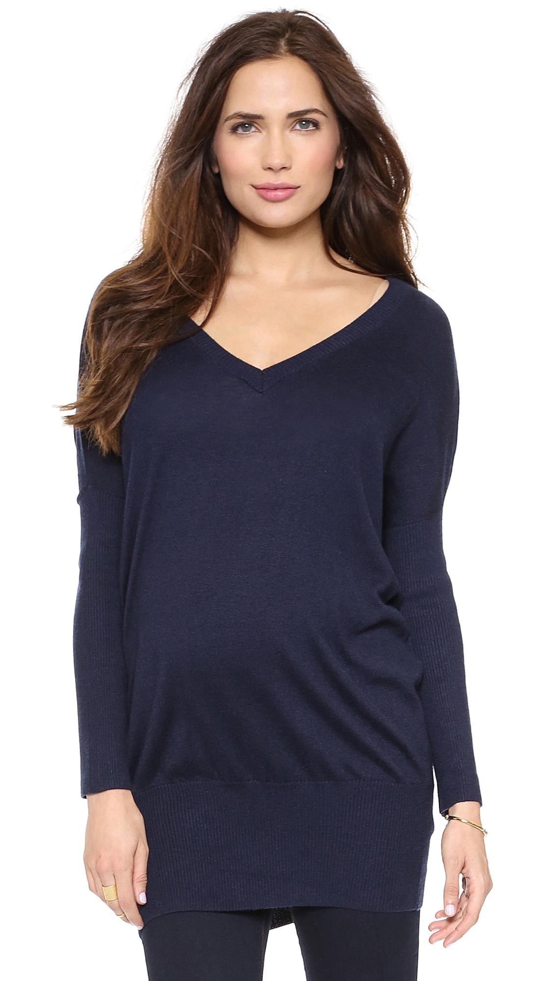 Rosie Pope V Neck Maternity Sweater - Navy
