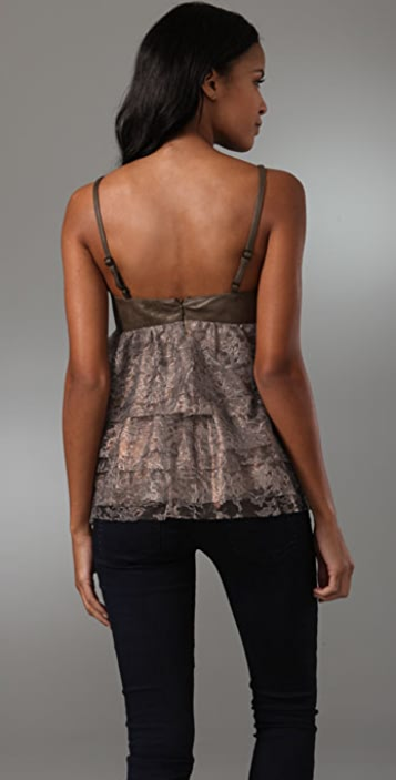 Robert Rodriguez Tiered Lace Top with Leather Trim