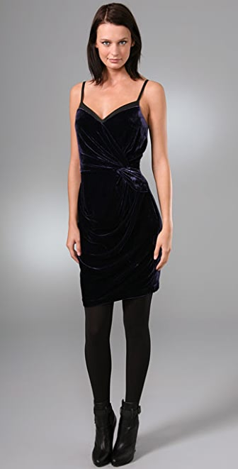 Robert Rodriguez Velvet & Leather Dress