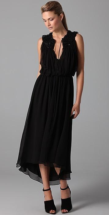 Robert Rodriguez Sleeveless Dress with Faux Leather Yoke