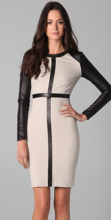 Robert Rodriguez Leather Patched Dress