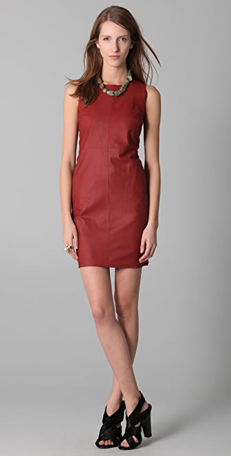 Robert Rodriguez Seamed Leather Dress