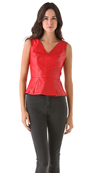 Robert Rodriguez Leather Peplum Top