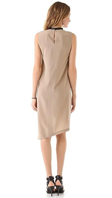 Robert Rodriguez Leather Neck Sheath Dress