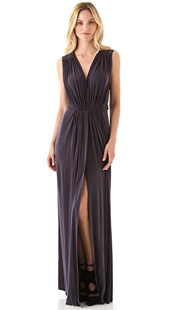 Robert Rodriguez Shirred Maxi Dress with Beading