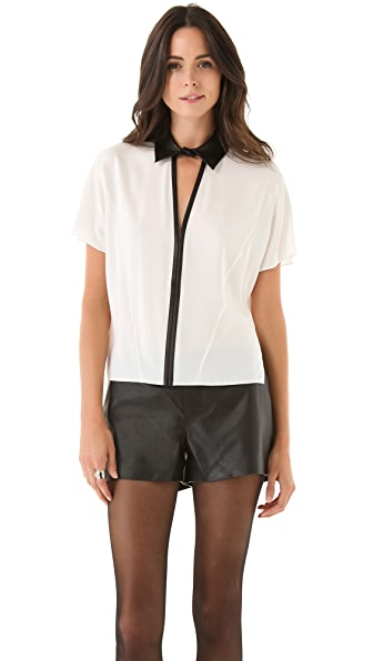 Robert Rodriguez Cascade Silk Shirt with Leather Trim