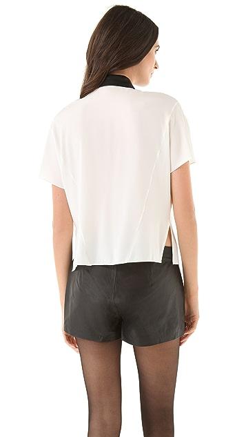 Robert Rodriguez Cascade Silk Shirt with Leather Trim