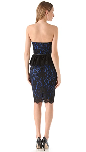Robert Rodriguez Strapless Lace Peplum Dress